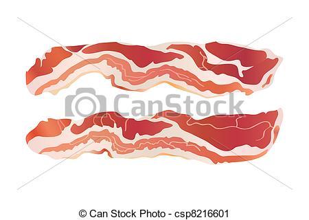Strip . Bacon clipart sliced