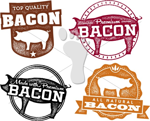 Bacon clipart vector. Vintage style pork labels