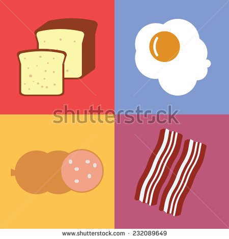 Flat explore pictures. Bacon clipart vector