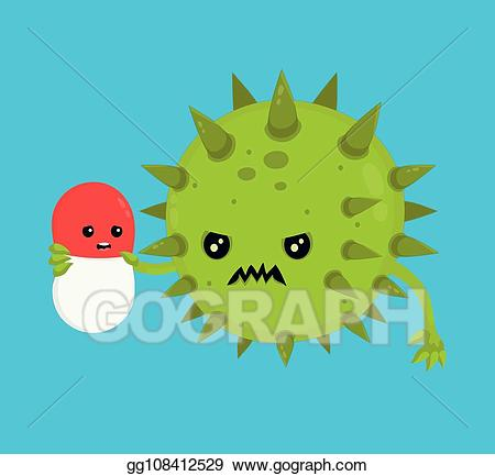Bacteria clipart angry. Vector stock bad microorganism