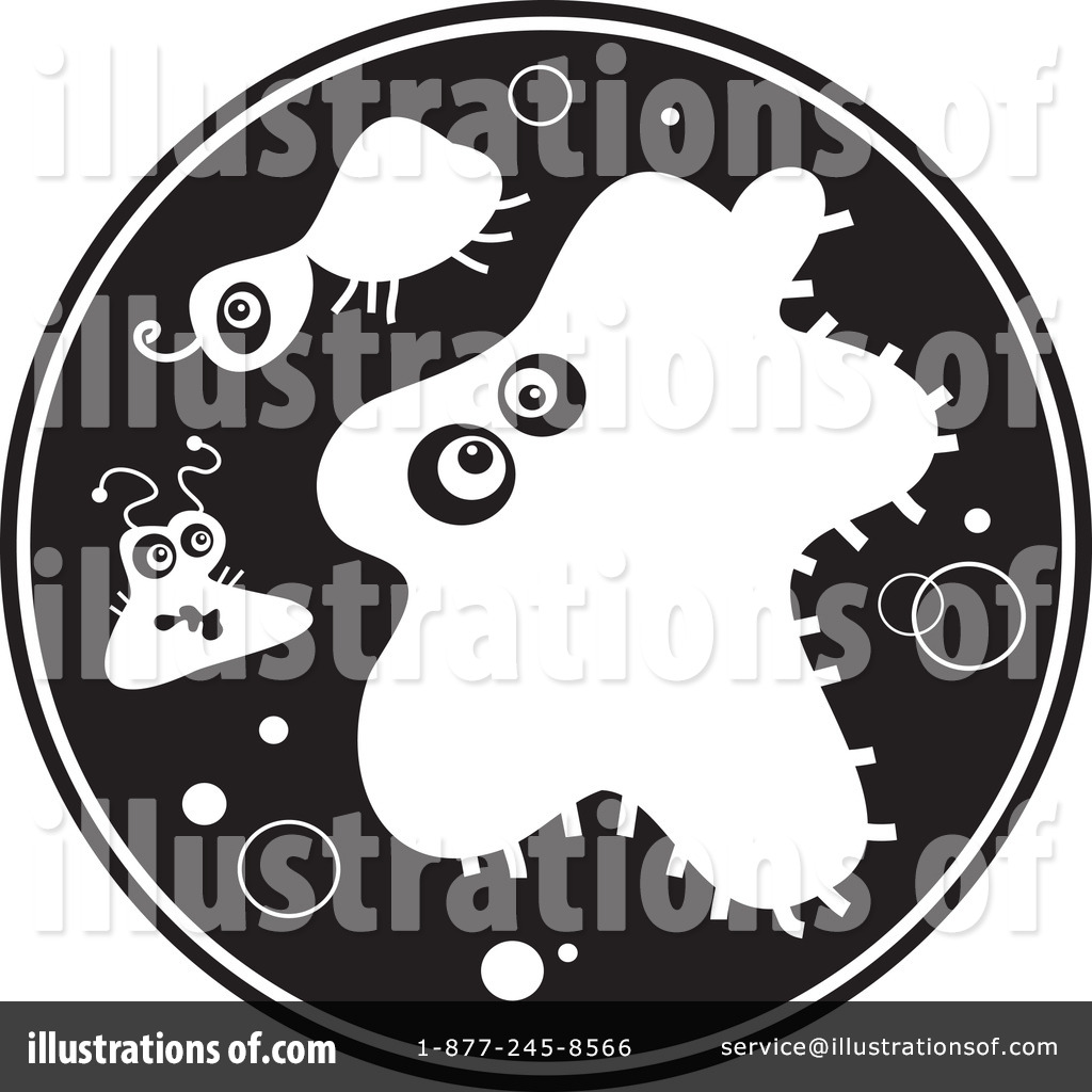 Illustration by prawny royaltyfree. Bacteria clipart black and white