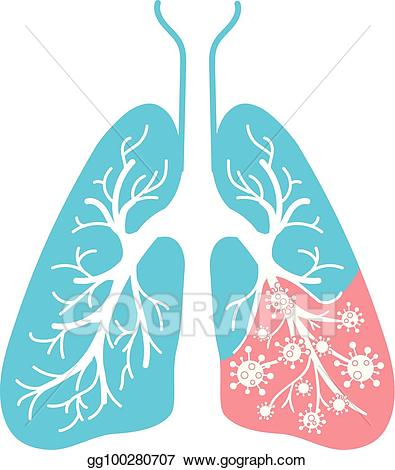 Bacteria clipart disease. Vector icon of lung