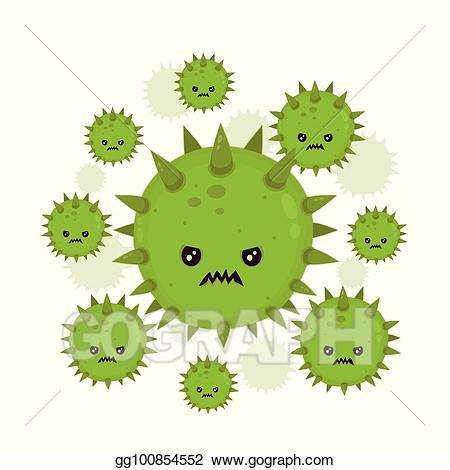Bad clipart microbe. Vector illustration cute angry