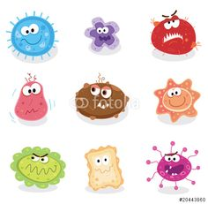 Cartoon microbes vector pinteres. Bacteria clipart fungus bacteria