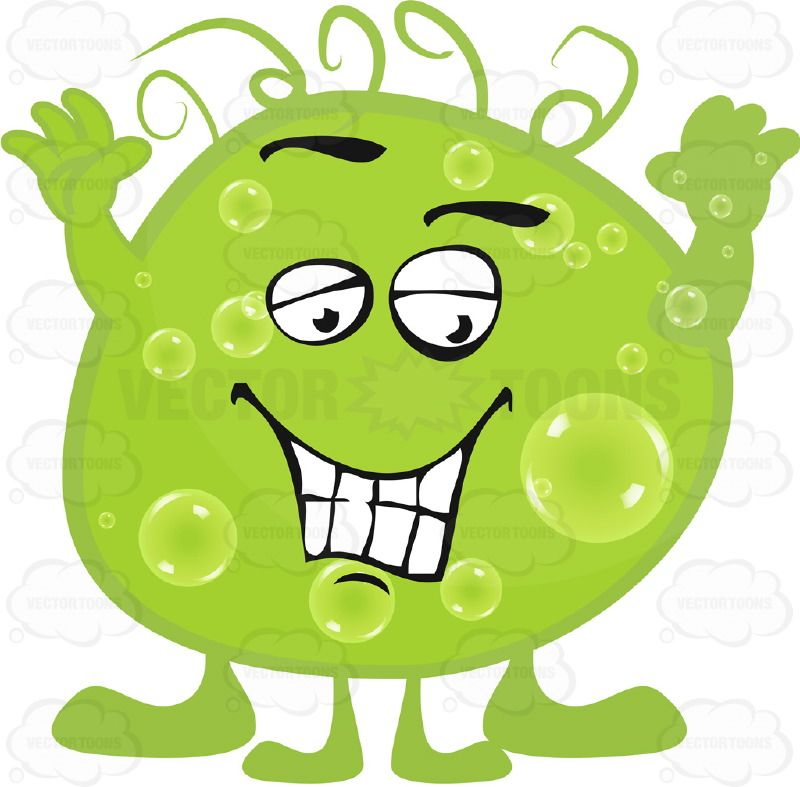 Green blob with smiling. Germ clipart sick