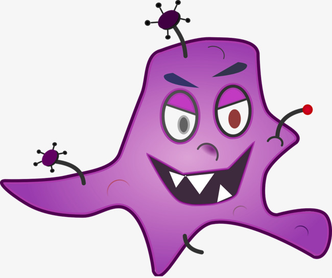Purple germ bacterial png. Bacteria clipart happy