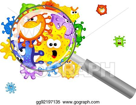 Bacteria clipart magnifying glass. Vector under a