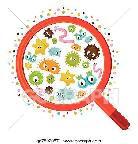 Vector art look through. Bacteria clipart magnifying glass