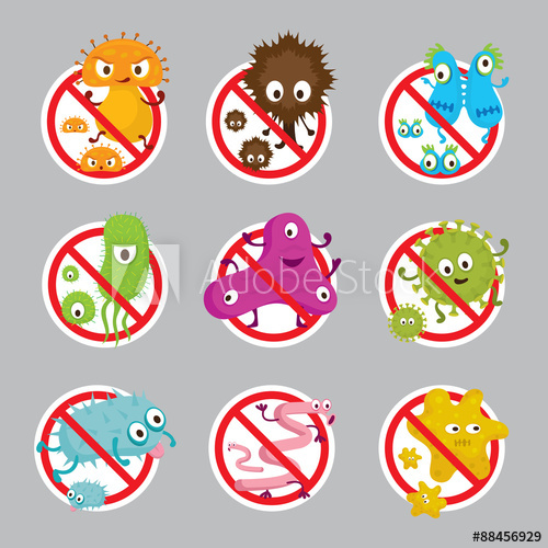 Cute germ characters prohibition. Bacteria clipart pathogen