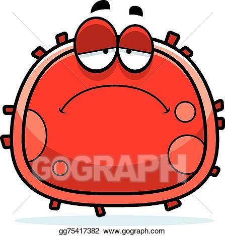 Bacteria clipart sad. Vector art red blood