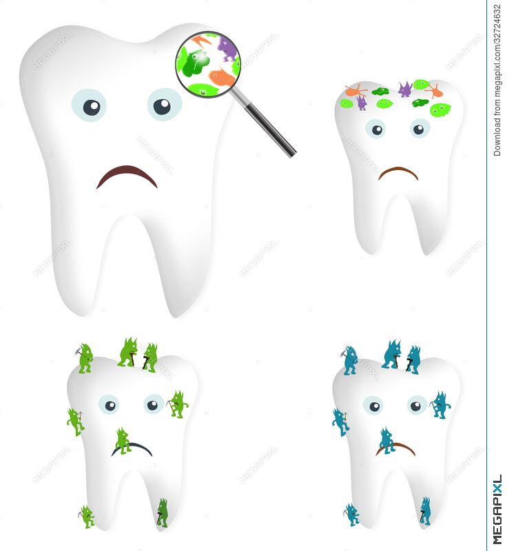Bacteria clipart sad. Tooth germs and illustration