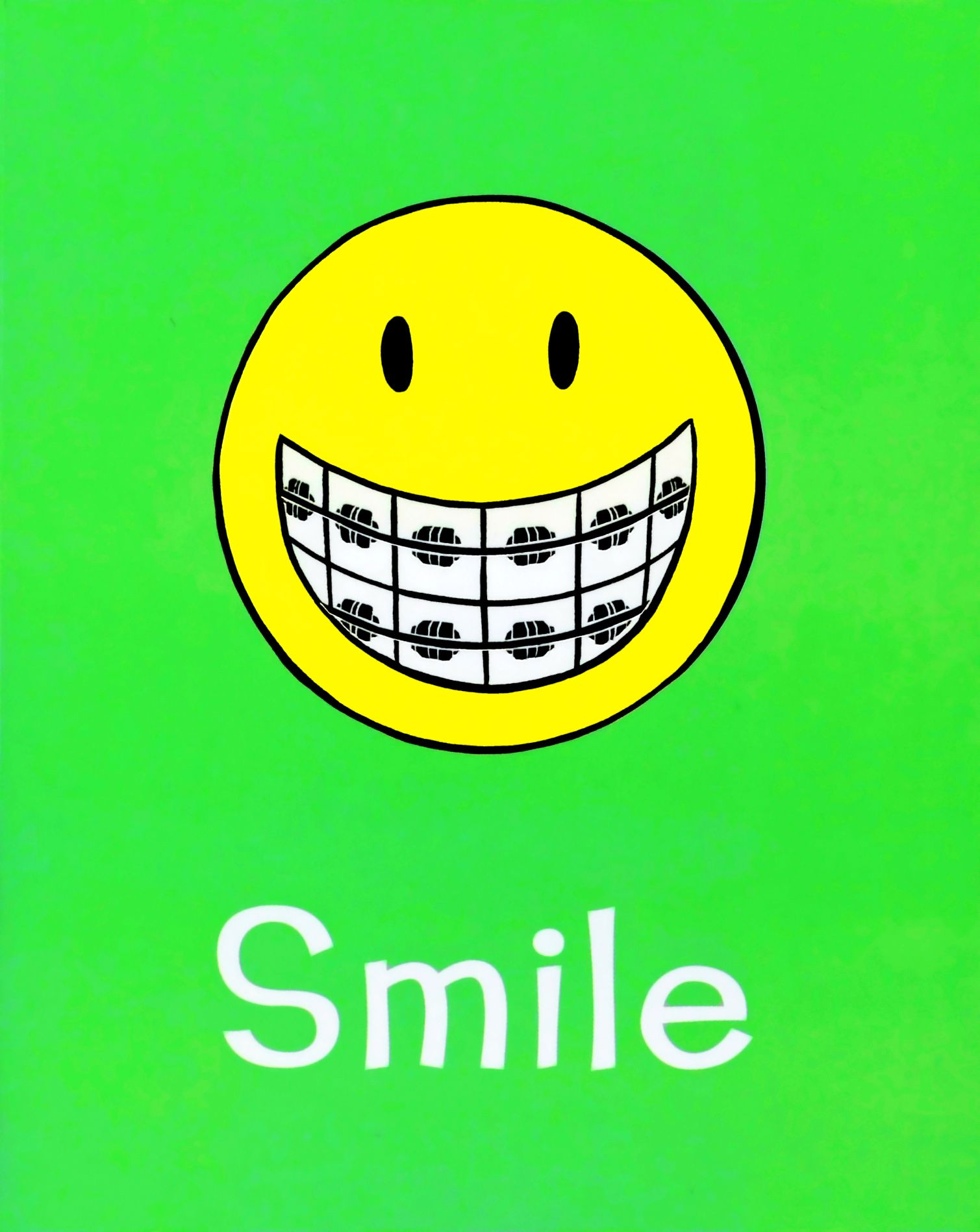 Cute with braces happiness. Bacteria clipart smiley face