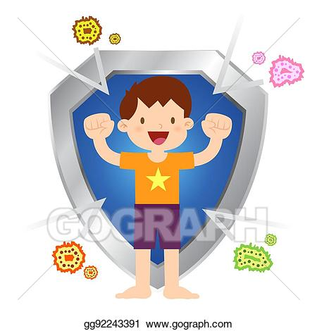 Bacteria clipart viral infection. Vector illustration healthy little