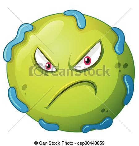 Angry pencil and in. Bacteria clipart virus