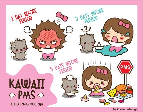 Bad clipart bad mood. Kawaii girl pms period