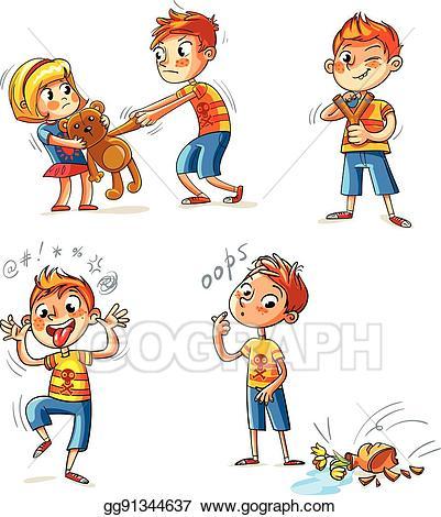 Vector illustration behavior funny. Bad clipart bad person