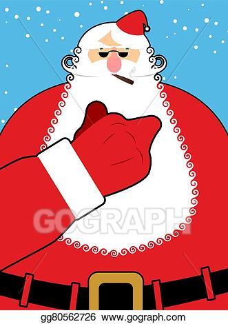 Vector santa claus shows. Bad clipart bully