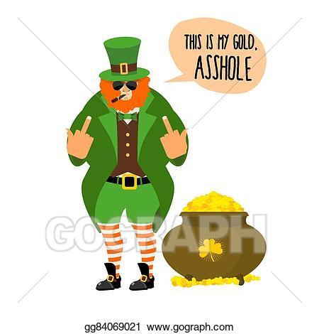 Bad clipart bully. Vector art leprechaun shows
