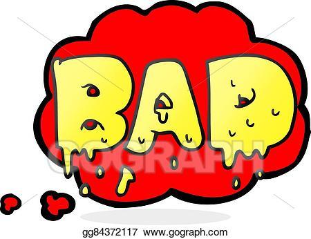 Bad clipart cartoon. Vector art thought bubble