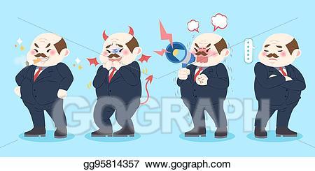 Vector boss illustration gg. Bad clipart cartoon