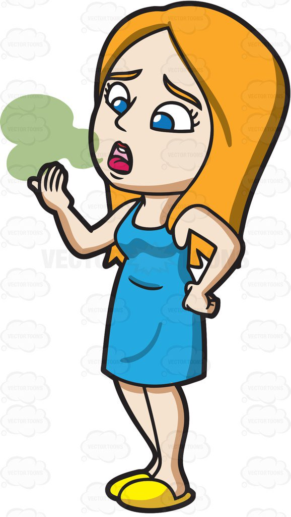 Breathing clipart smelly breath. A woman with bad