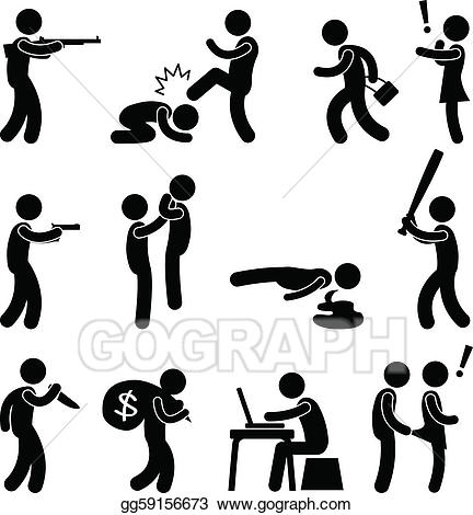 Bad clipart criminal. Vector art terrorist crime