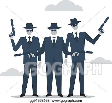 Bad clipart criminal. Vector art group of