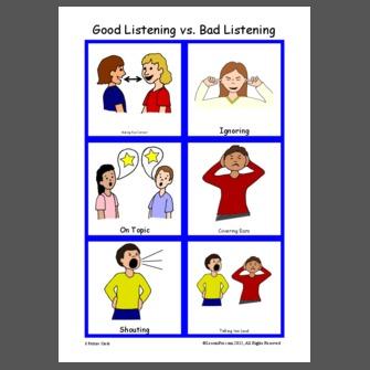 Bad clipart listener. Lessonpix good listening vs