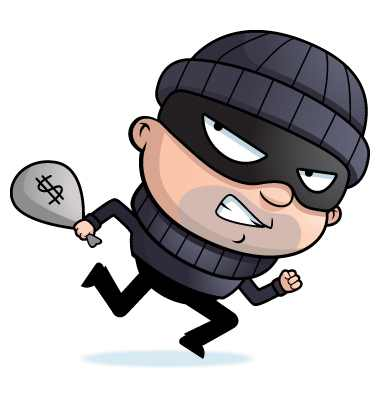 Booth crush theft prevention. Bad clipart shoplifter
