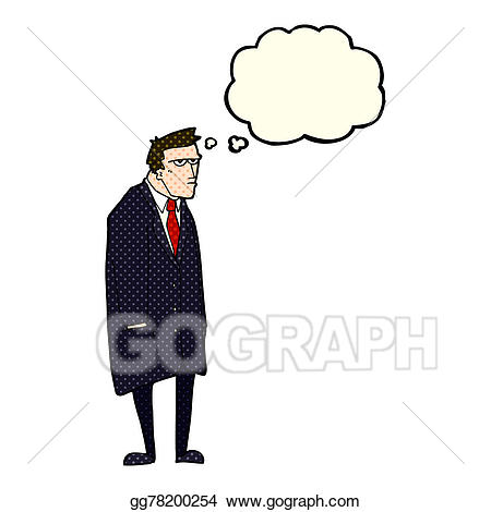 Cartoon man with thought. Bad clipart tempered