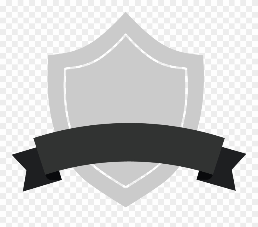 Gray shield with black. Badge clipart banner