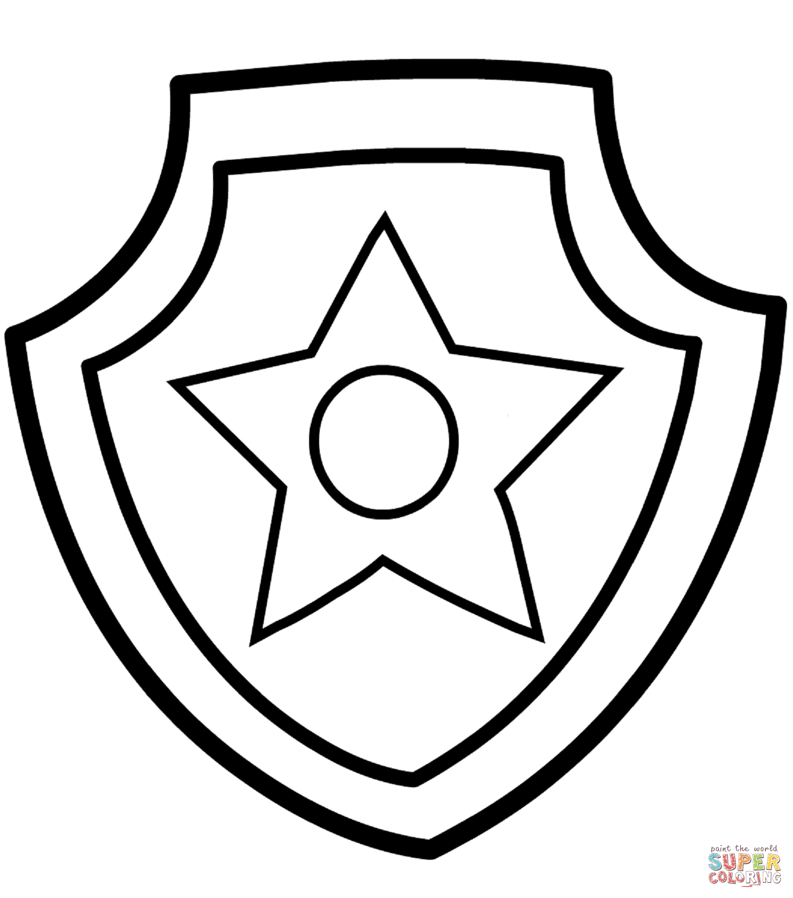 Paw patrol chase coloring. Badge clipart black and white
