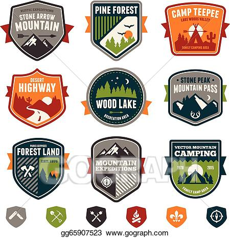 Badge clipart camping. Vector illustration vintage travel