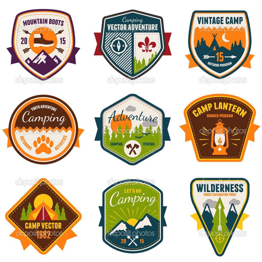 Vintage summer camp and. Badge clipart camping