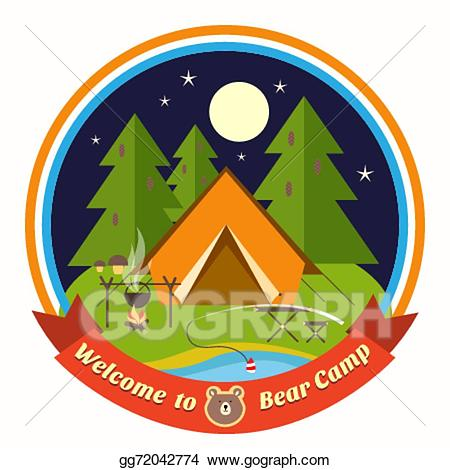 Clip art vector welcome. Badge clipart camping