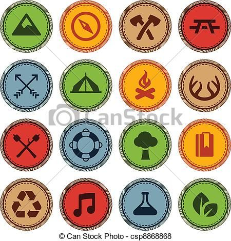 Badge clipart camping. Vector merit badges stock