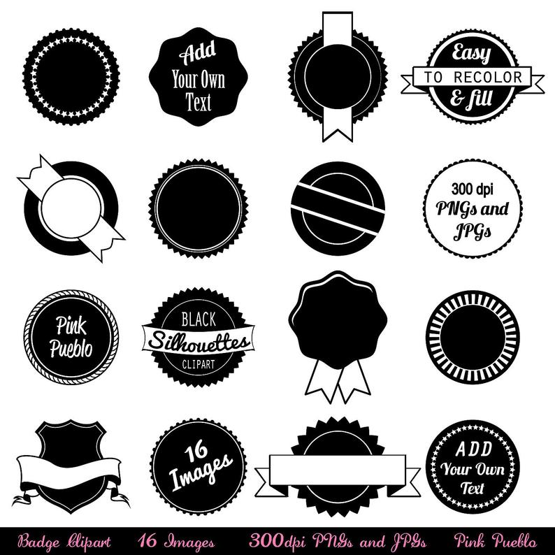 Badge clipart clip art. Use as stickers tags