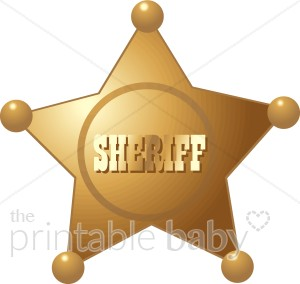 Gold sheriff s baby. Badge clipart cowboy