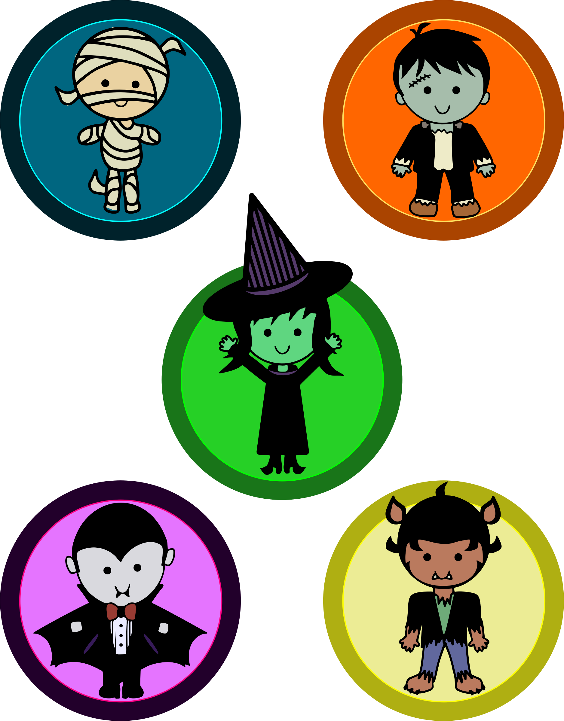 Witch clipart cute halloween character. Monster badges big image