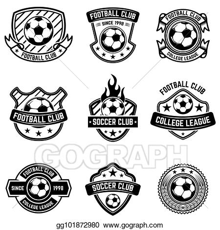 Badge clipart emblem. Stock illustration football club