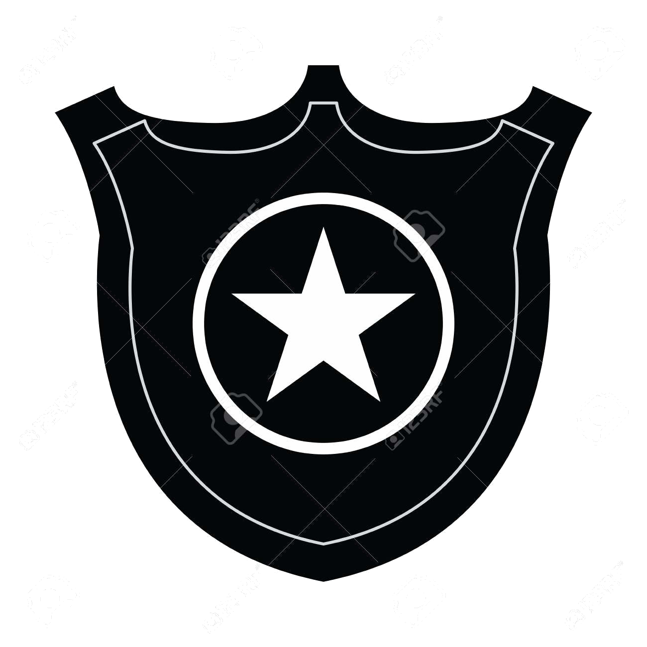 Police pictures isolated silhouette. Badge clipart fancy