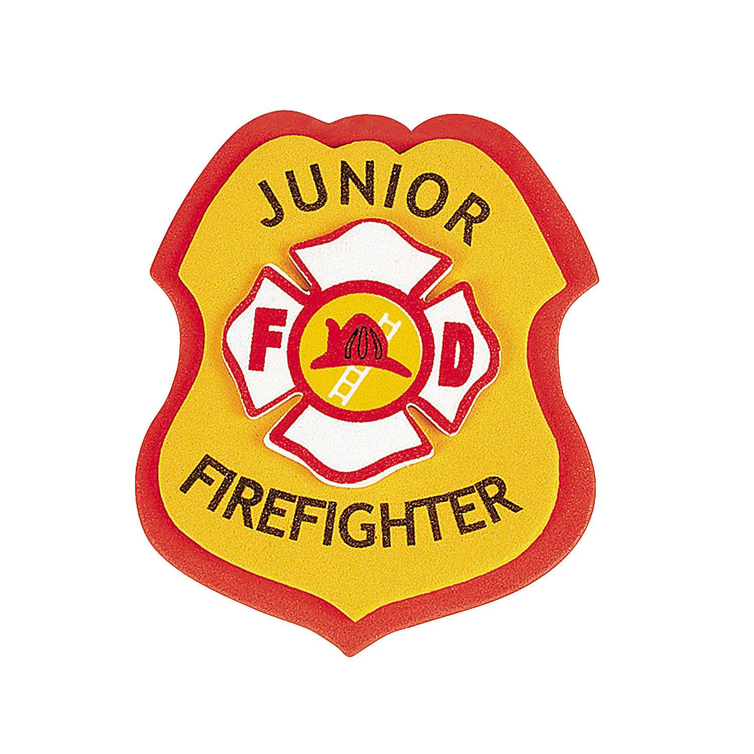 Badge clipart fireman. Junior firefighter craft kit