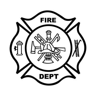 Fire department letters bouquet. Badge clipart flower