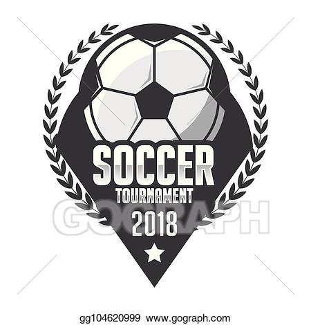 Football clipart badge. Vector art soccer logo