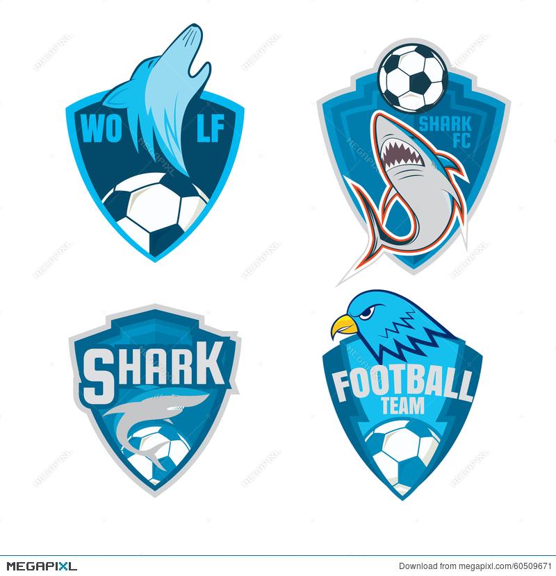 Logo shield collection design. Badge clipart football