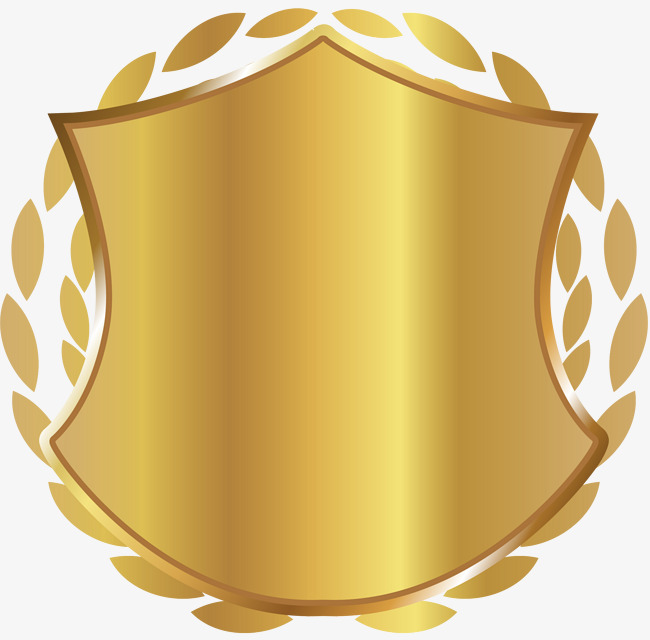 Golden shield png image. Badge clipart gold