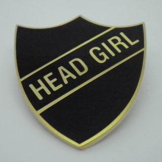 Girl enamel school shield. Badge clipart head boy