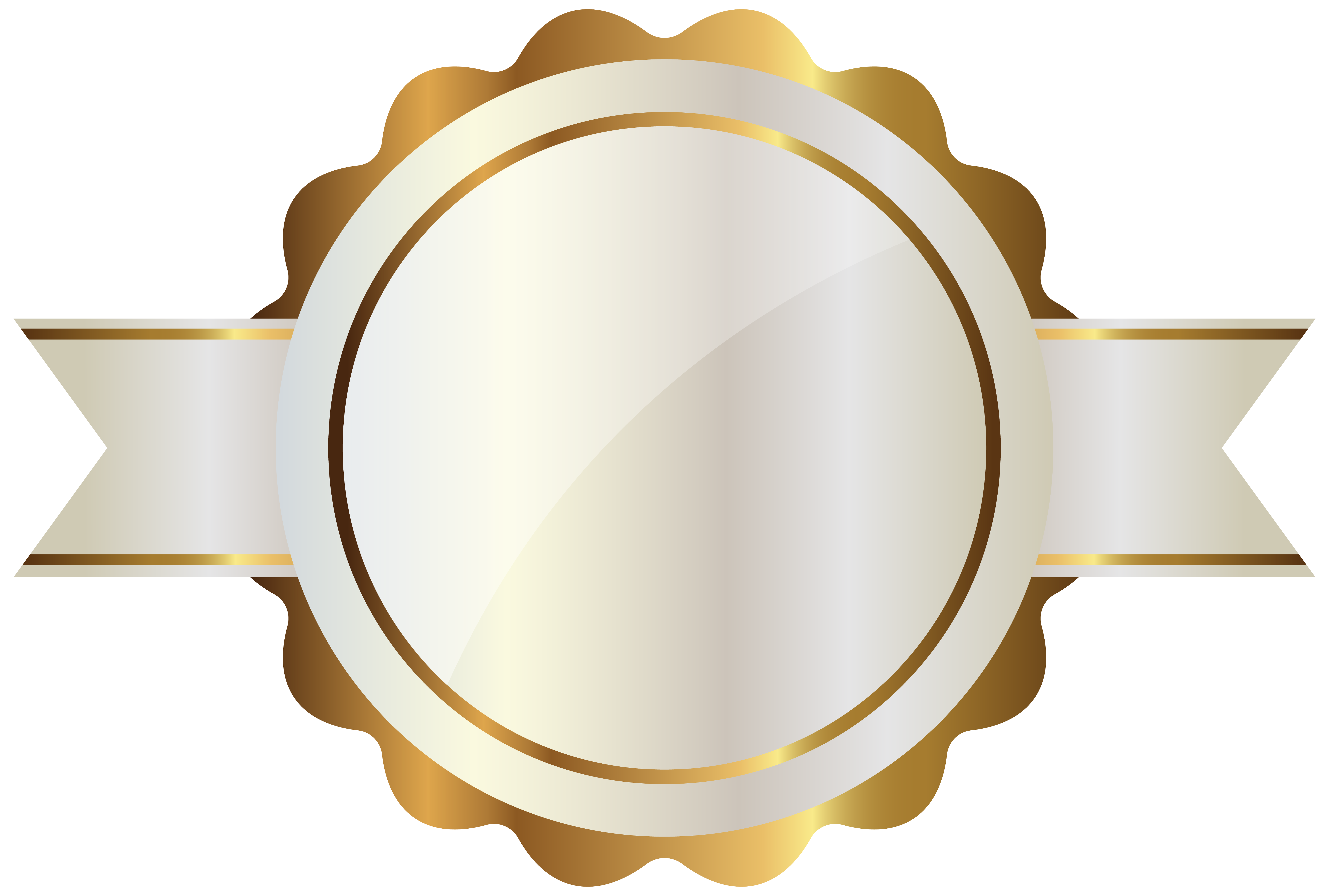 White label with gold. Clipart shield metallic