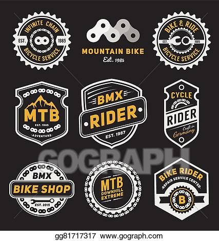 Vector set of bicycle. Badge clipart logo