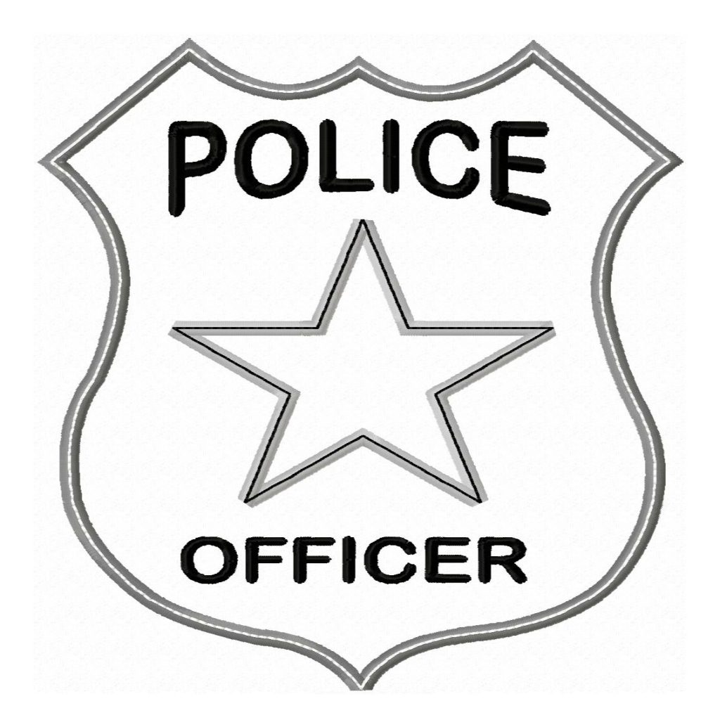 Badge clipart outline. Quickly kids police officer